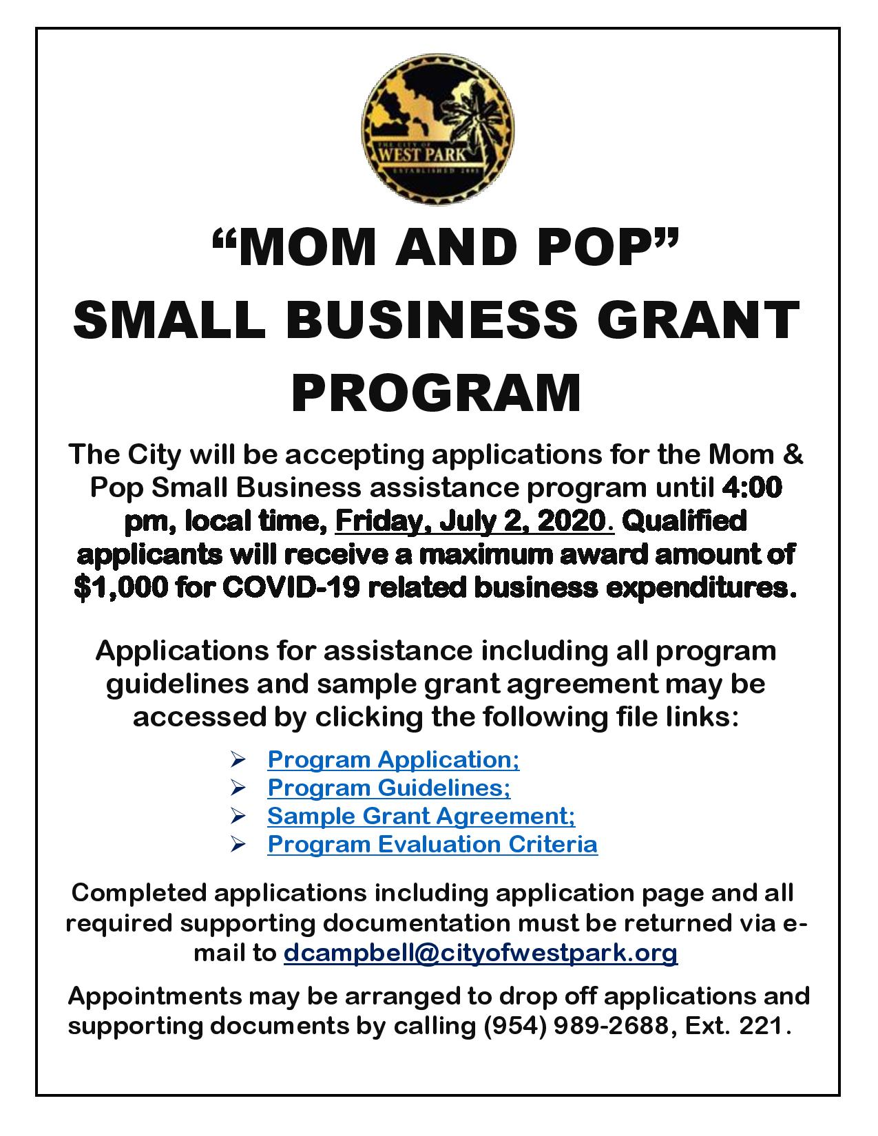2020 Small Business Grant Notice for Website