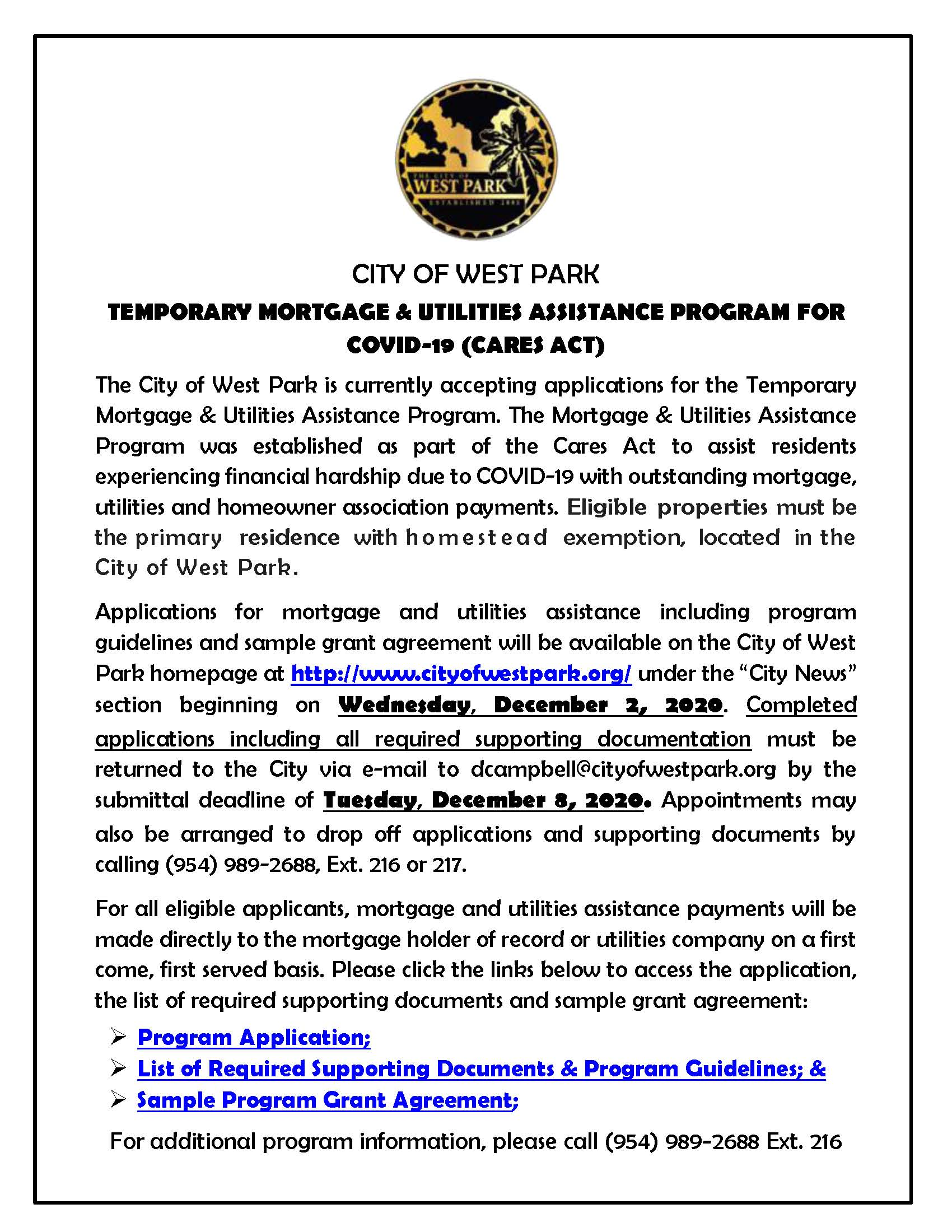 CARES ACT FLYER (2) - Temporary Mortgage  Utilities Assistance Program Notice - 11-2020
