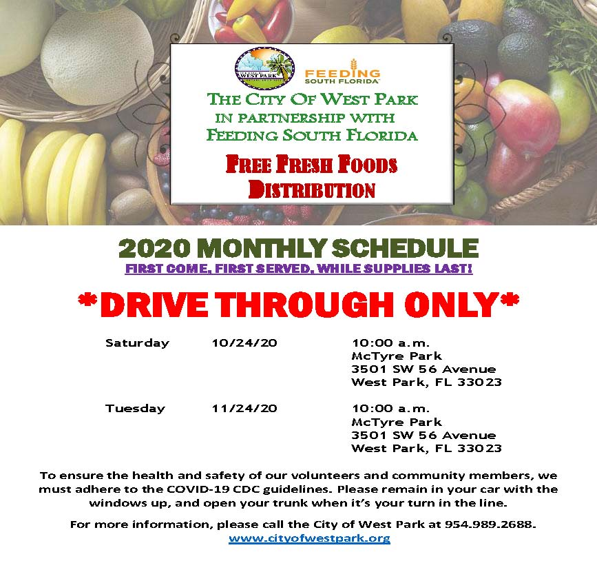 Free Food Feeding South Florida - 10-19-20 - UPDATED