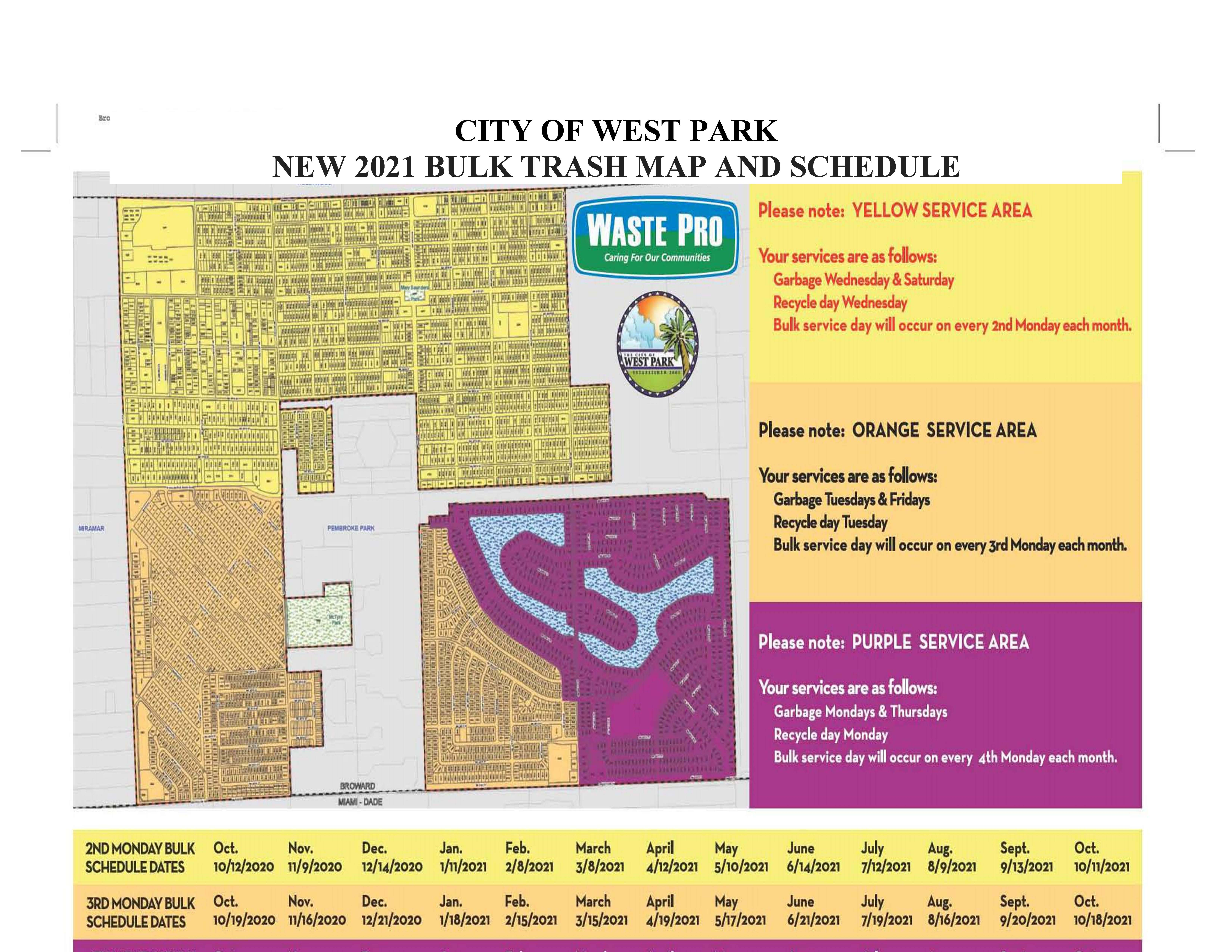 CITY OF WEST PARK  NEW 2021 BULK TRASH MAP AND SCHEDULE