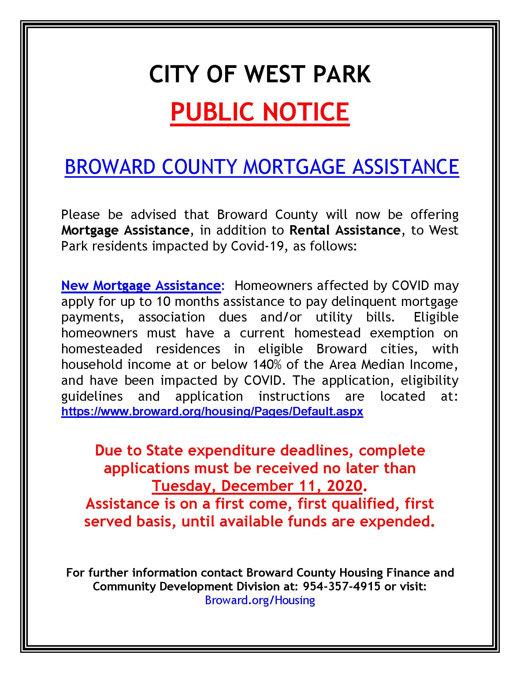 PUBLIC NOTICE - BROWARD COUNTY MORTGAGE RENT ASSISTANCE